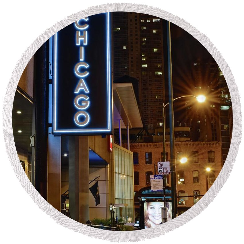 Chicago Round Beach Towel featuring the photograph Chicago Hotel by Frozen in Time Fine Art Photography