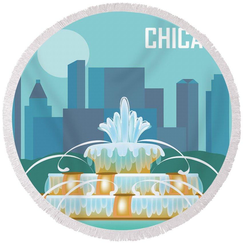 Chicago Round Beach Towel featuring the digital art Chicago Illinois Horizontal Skyline - Buckingham Fountain by Karen Young