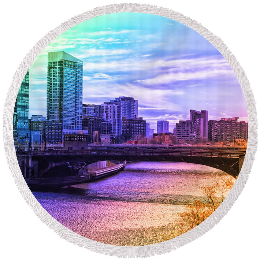 Prismatic Round Beach Towel featuring the photograph Chicago In November Chicago River South Branch Pa Rainbow 02 by Thomas Woolworth