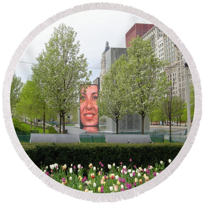 Chicago Round Beach Towel featuring the photograph Chicago by Jean Macaluso