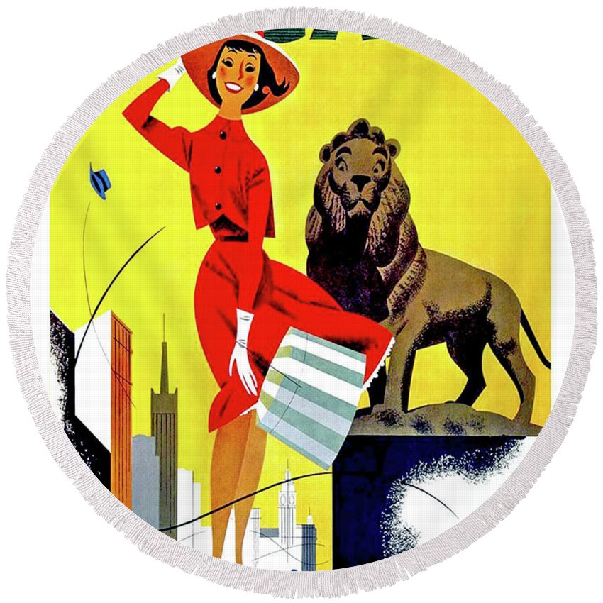 Chicago Round Beach Towel featuring the painting Chicago, Lion, Shopping Woman by Long Shot
