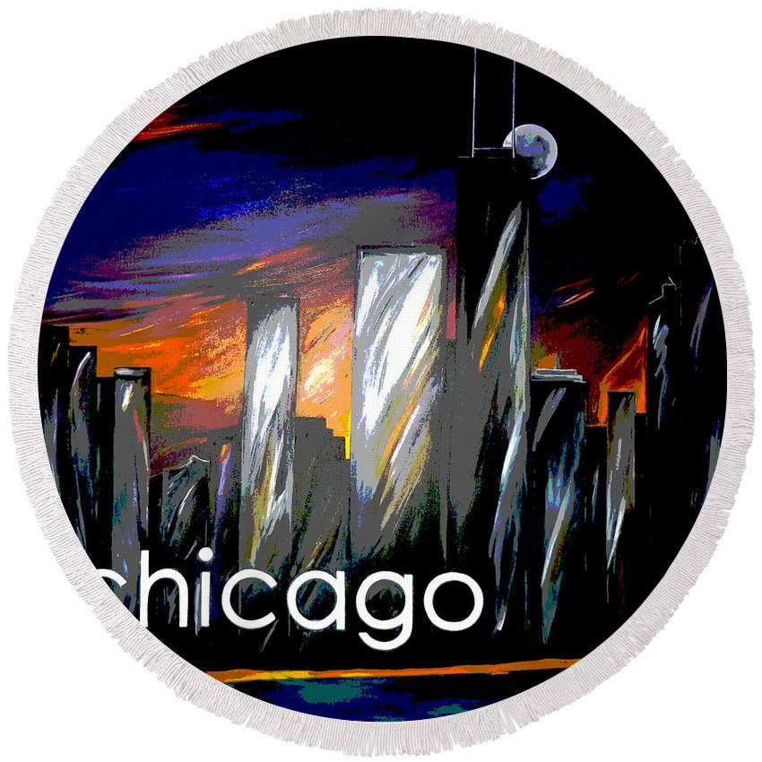 Chicago Round Beach Towel featuring the painting Chicago Night Skyline by Jean Habeck