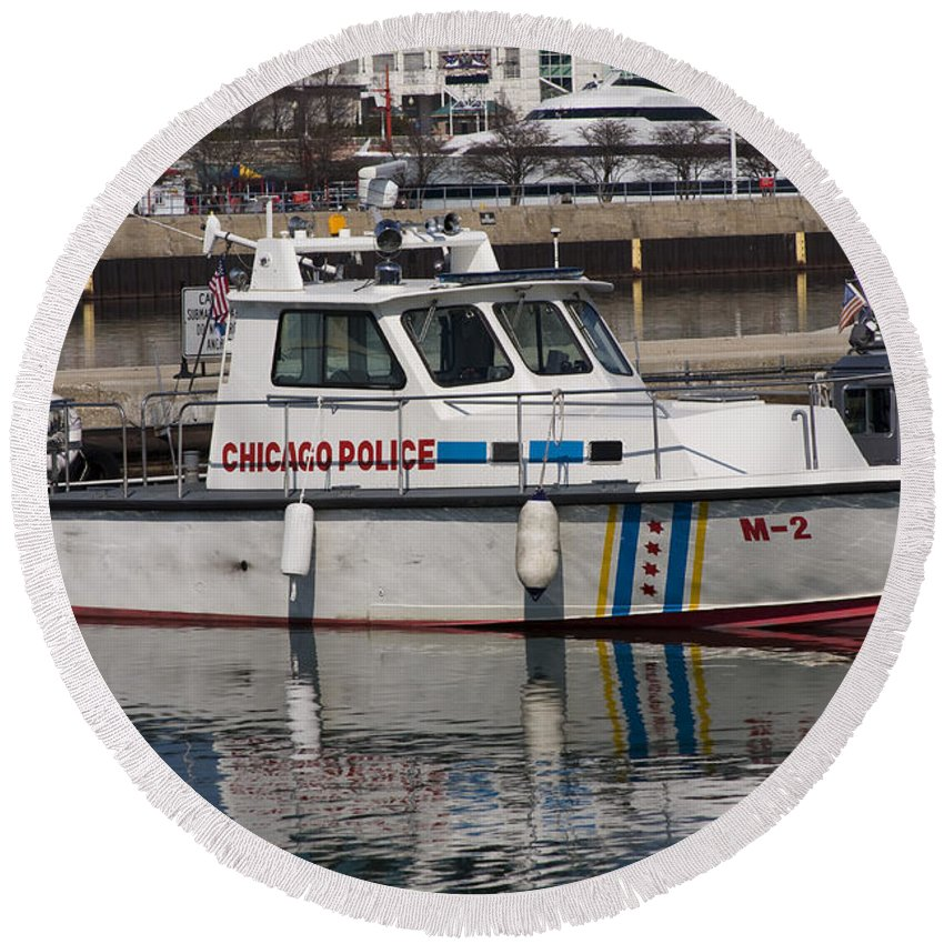 Chicago Police Windy City Water Lake Michigan Reflection Boat White Blue Round Beach Towel featuring the photograph Chicago Police by Andrei Shliakhau