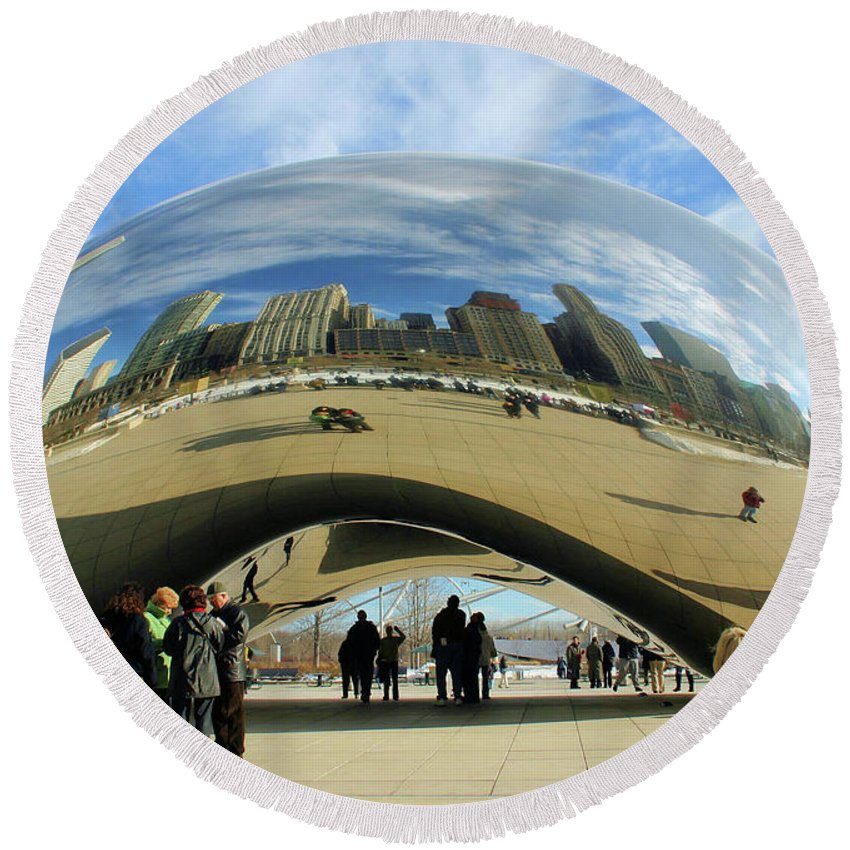 Chicago Round Beach Towel featuring the photograph Chicago Reflected by Kristin Elmquist