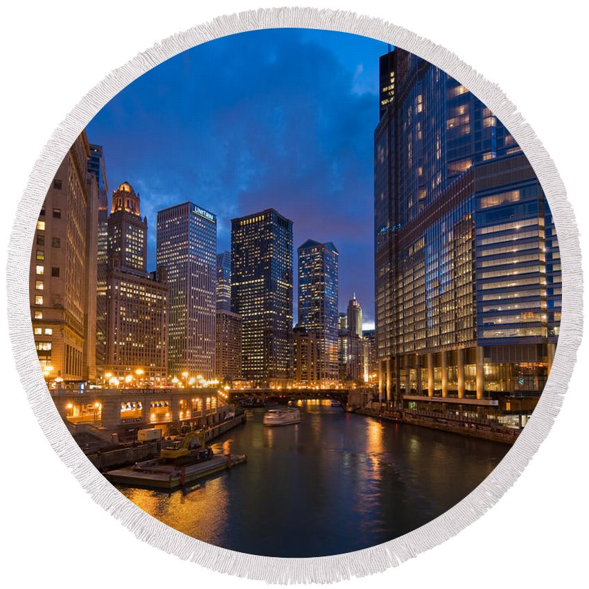 Architecture Round Beach Towel featuring the photograph Chicago River Lights by Steve Gadomski