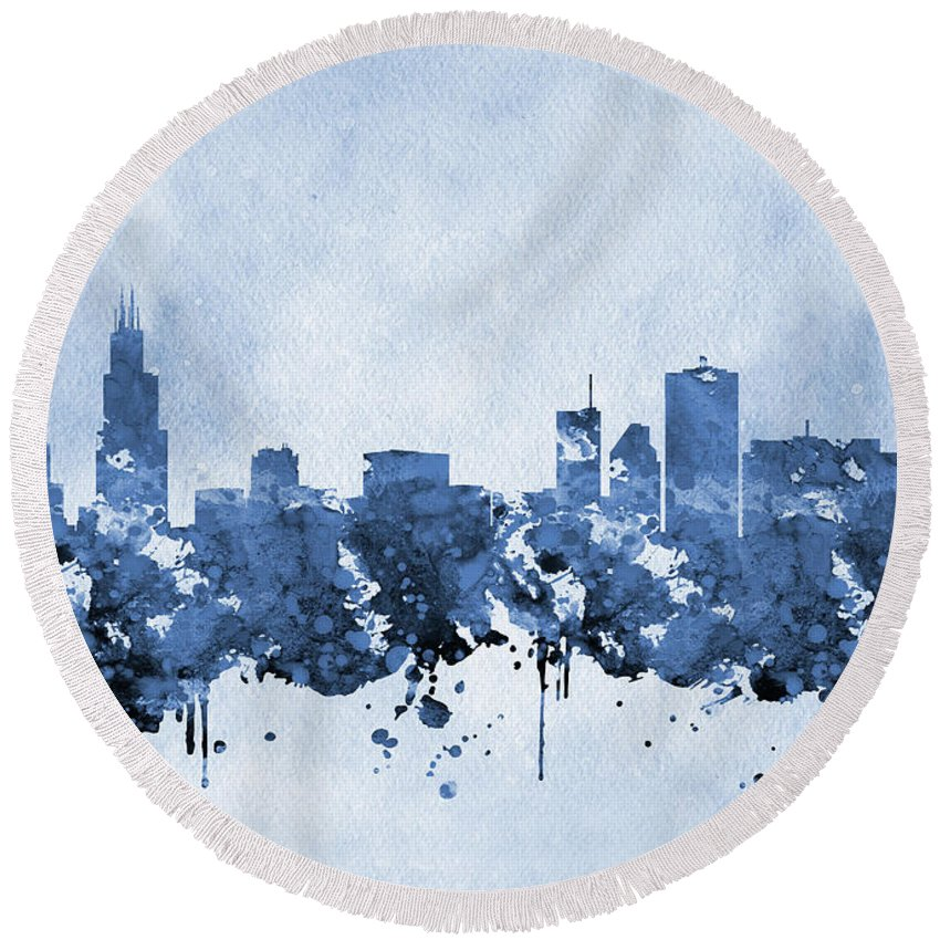 Chicago Round Beach Towel featuring the digital art Chicago Skyline-blue 2 by Erzebet S