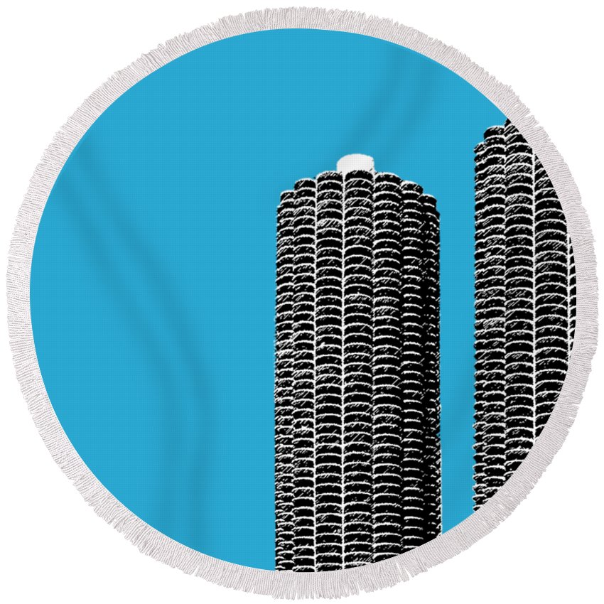 Architecture Round Beach Towel featuring the digital art Chicago Skyline Marina Towers - Teal by DB Artist