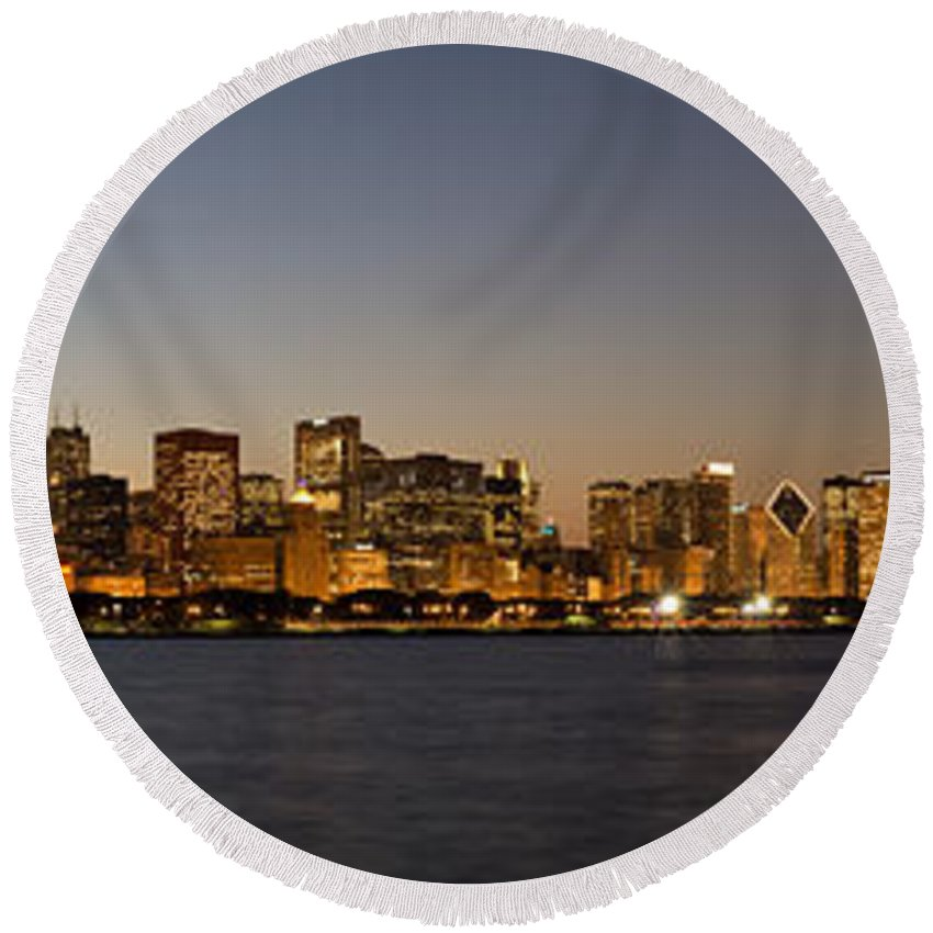 Chicago Round Beach Towel featuring the photograph Chicago Skyline Panorama by Steve Gadomski