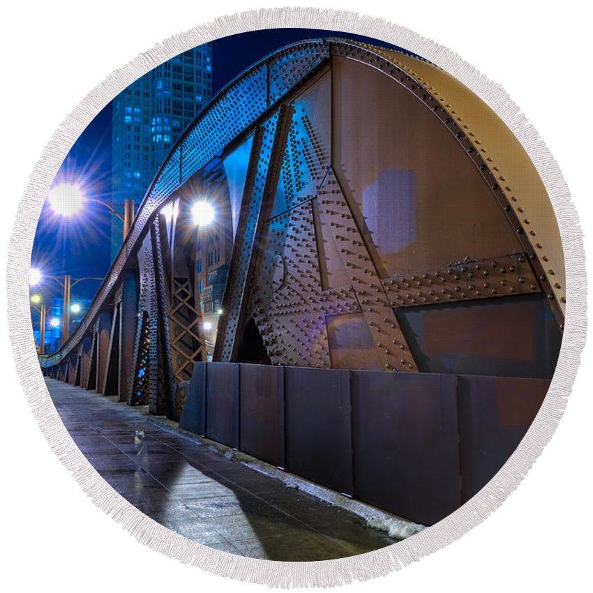 Bridge Round Beach Towel featuring the photograph Chicago Steel Bridge by Steve Gadomski