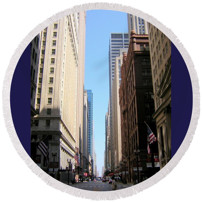 Chicago Round Beach Towel featuring the photograph Chicago Street With Flags by Anita Burgermeister