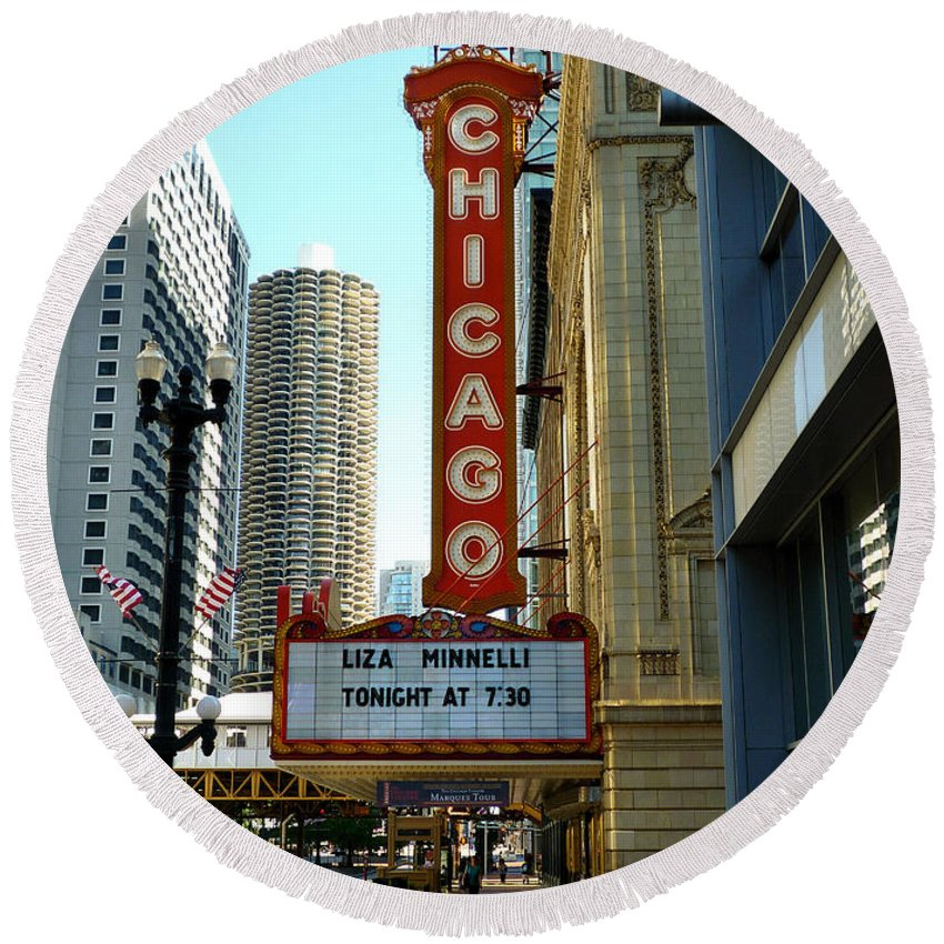 Chicago Theater Marquee Round Beach Towel featuring the photograph Chicago Theater - 1 by Ely Arsha