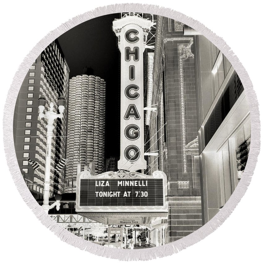 Chicago Theater Marquee Round Beach Towel featuring the photograph Chicago Theater - 2 by Ely Arsha