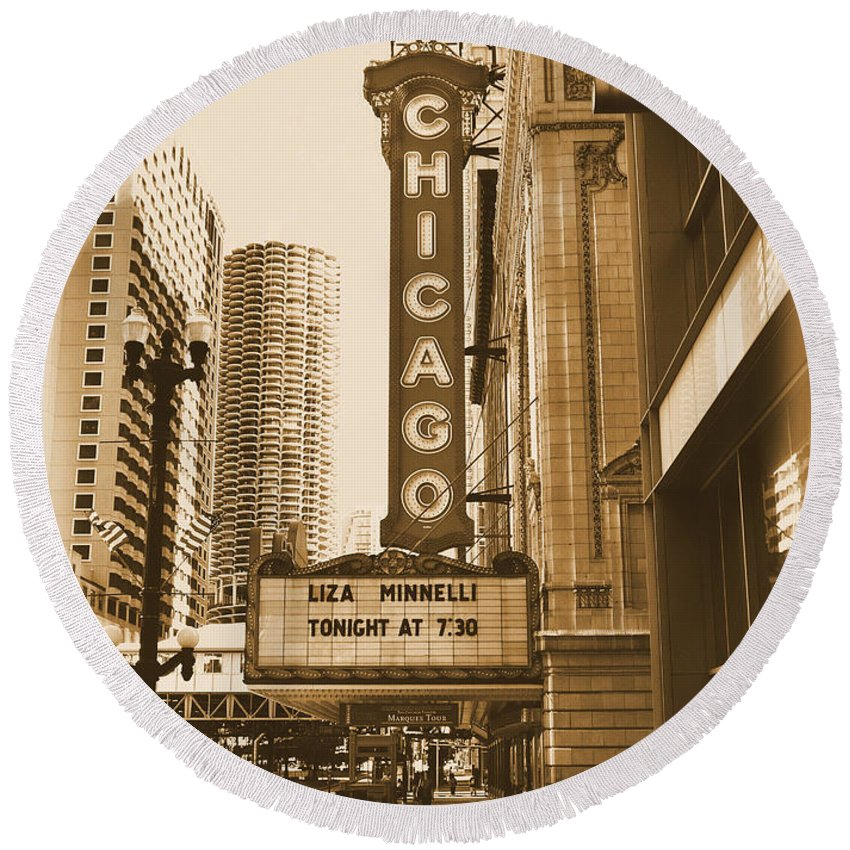 Chicago Theater Marquee Round Beach Towel featuring the photograph Chicago Theater - 3 by Ely Arsha