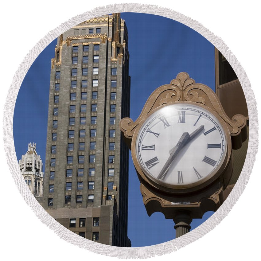 Chicago City Windy Wind Blue Sky Clock Time Building Tall High Big Gold Sun Sunny Metro Urban Round Beach Towel featuring the photograph Chicago Time by Andrei Shliakhau