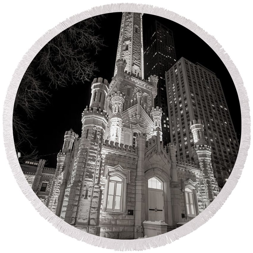 3scape Photos Round Beach Towel featuring the photograph Chicago Water Tower by Adam Romanowicz