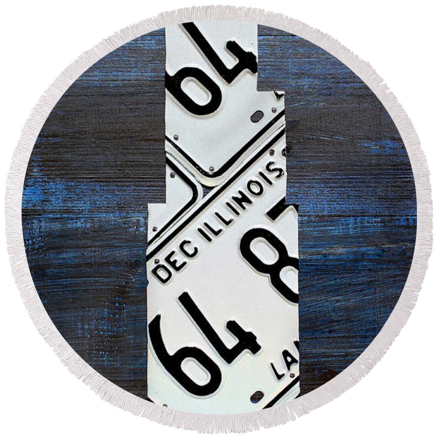 Chicago Round Beach Towel featuring the mixed media Chicago Windy City Harris Sears Tower License Plate Art by Design Turnpike
