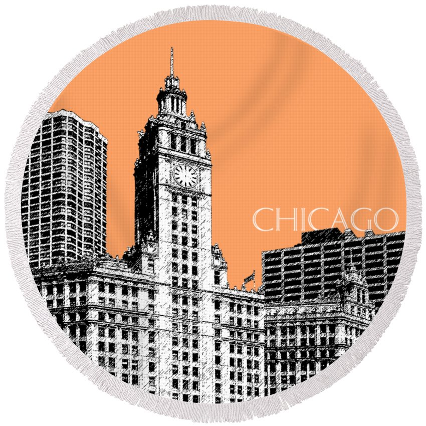 Architecture Round Beach Towel featuring the digital art Chicago Wrigley Building - Salmon by DB Artist