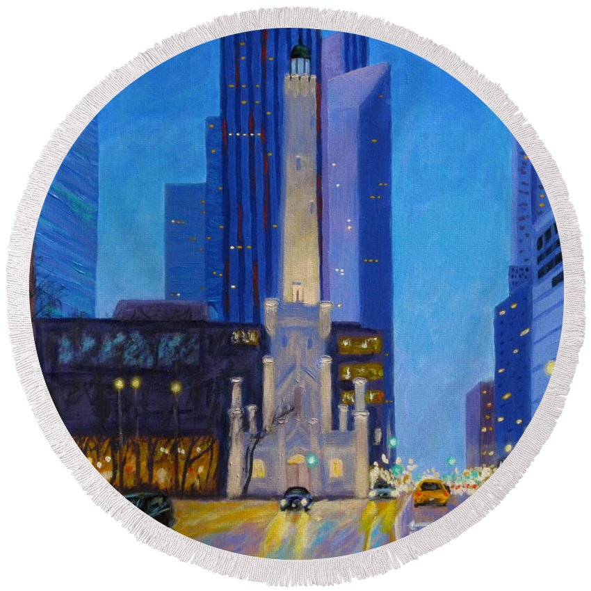 Chicago Art Round Beach Towel featuring the painting Chicago's Water Tower At Dusk by J Loren Reedy