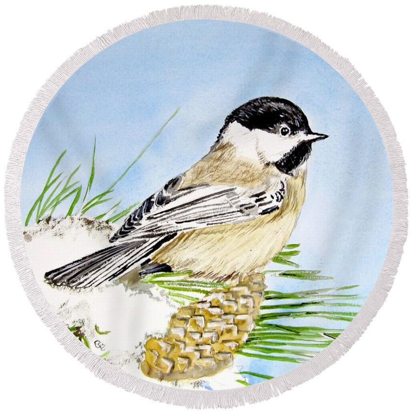 Chickadee Painting Round Beach Towel featuring the painting Chickadee by Carol Blackhurst