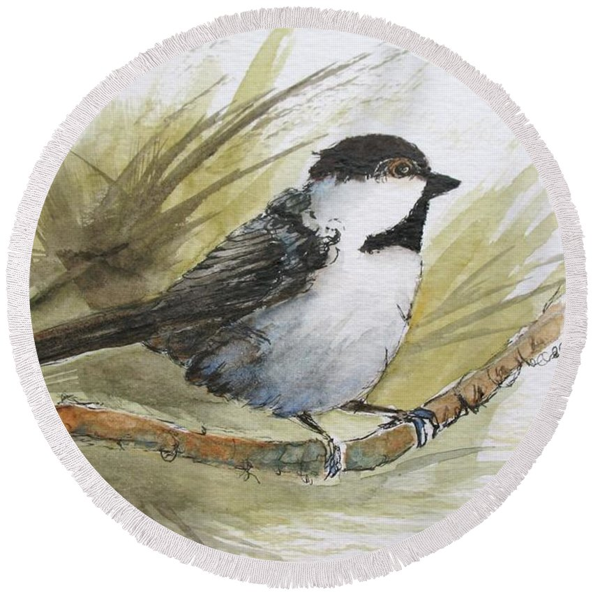 Bird Round Beach Towel featuring the painting Chickadee by Lisa Cini