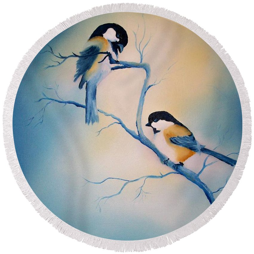 Birds Round Beach Towel featuring the painting Chickadees by Leo Gordon