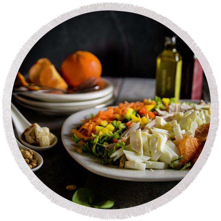 Meal Round Beach Towel featuring the photograph Chicken Salad With An Orange Twist by Deborah Klubertanz