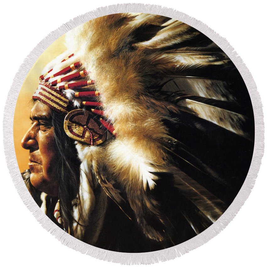 Native American Round Beach Towel featuring the painting Chief by Greg Olsen
