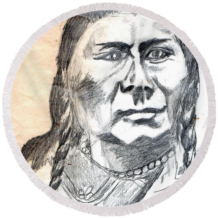 Chief Joseph Round Beach Towel featuring the drawing Chief Joseph by Genevieve Esson