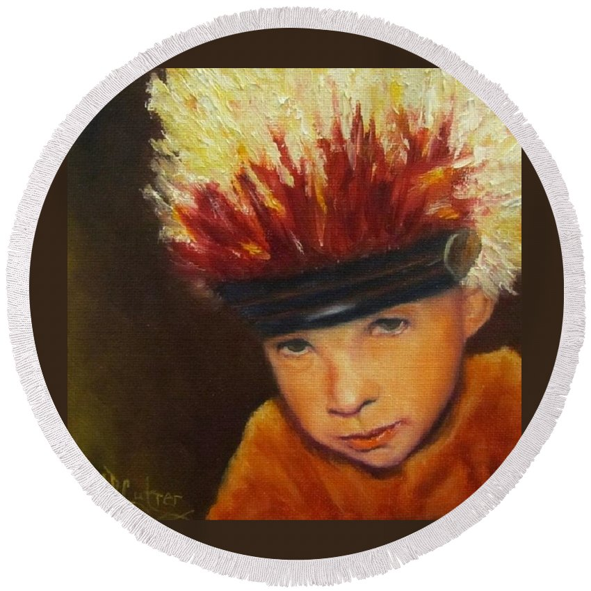 Child Round Beach Towel featuring the painting Chief Wannabee #2, Native American Indian Child  by Sandra Reeves
