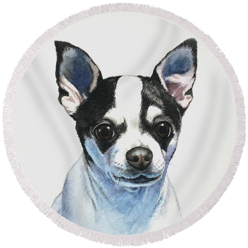 Chihuahua Round Beach Towel featuring the painting Chihuahua Black Spots With White by Christopher Shellhammer