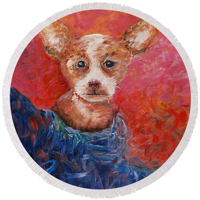 Dog Round Beach Towel featuring the painting Chihuahua Blues by Nadine Rippelmeyer