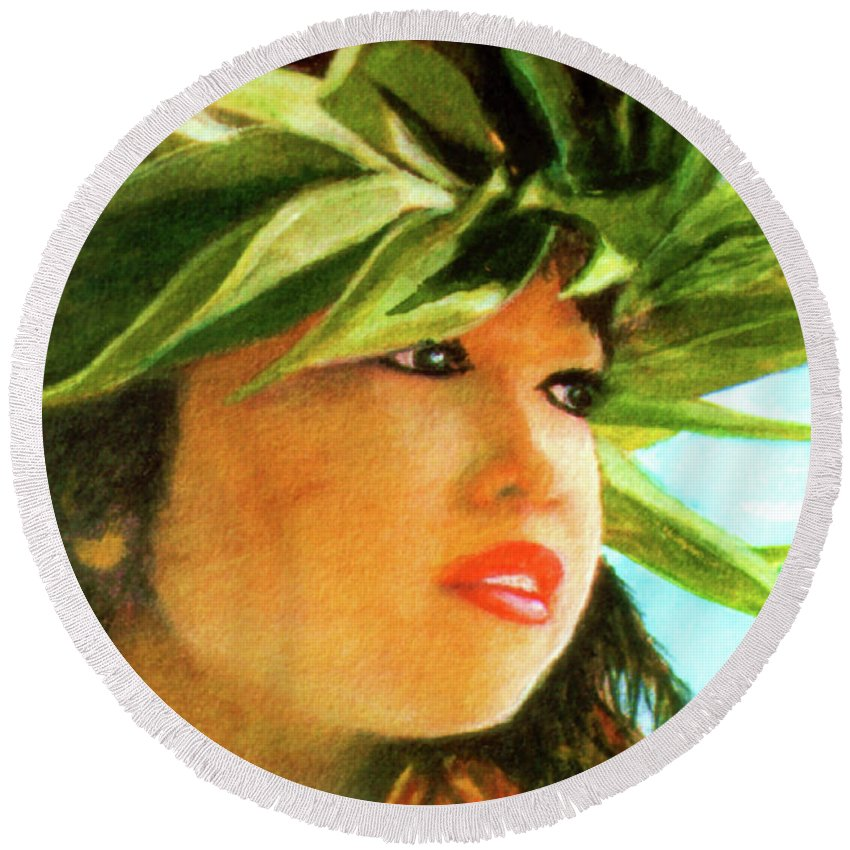 Keiki Round Beach Towel featuring the painting Child Keiki In Hawaiian No# 84 by Donald k Hall