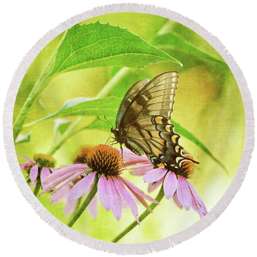 Butterfly Round Beach Towel featuring the photograph Child Of Sun And Summer by Lois Bryan