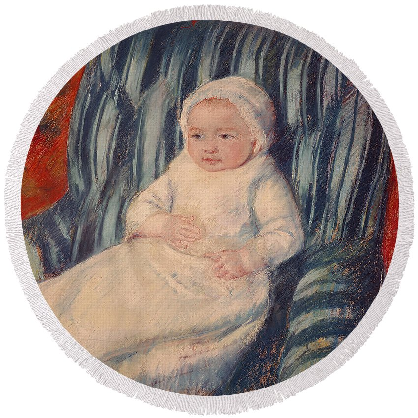 Child Round Beach Towel featuring the painting Child On A Sofa by Mary Cassatt