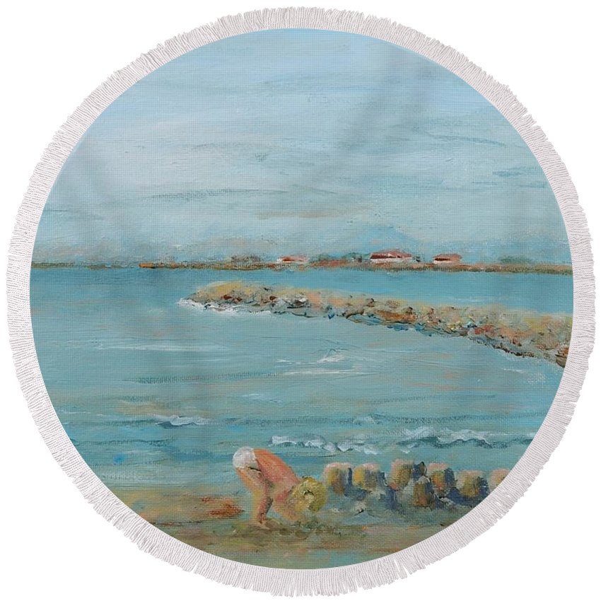 Beach Round Beach Towel featuring the painting Child Playing At Provence Beach by Nadine Rippelmeyer
