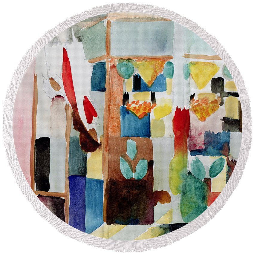 Greengrocer Round Beach Towel featuring the painting Children At The Greengrocers I by August Macke