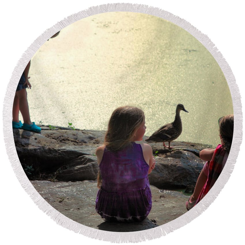 Children Round Beach Towel featuring the photograph Children At The Pond 1 by Madeline Ellis