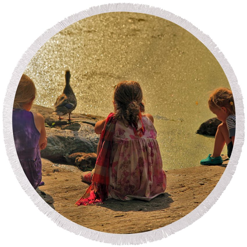 Children Round Beach Towel featuring the photograph Children At The Pond 4 by Madeline Ellis