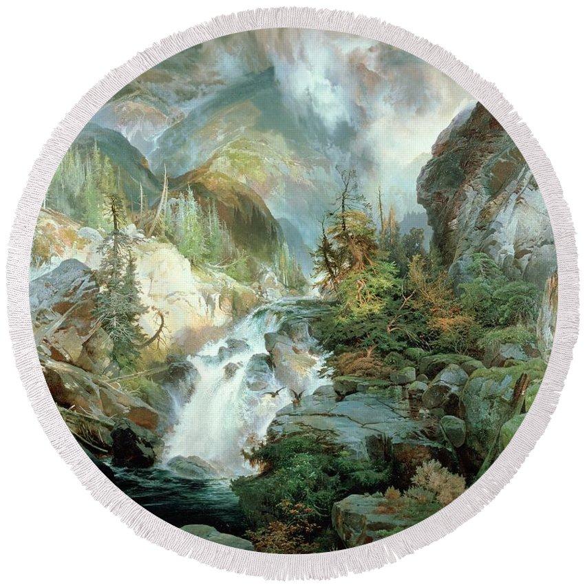 Children Of The Mountain Round Beach Towel featuring the painting Children Of The Mountain by Thomas Moran