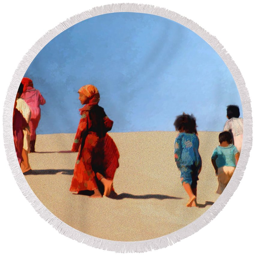 Children Round Beach Towel featuring the photograph Children Of The Sinai by Kurt Van Wagner