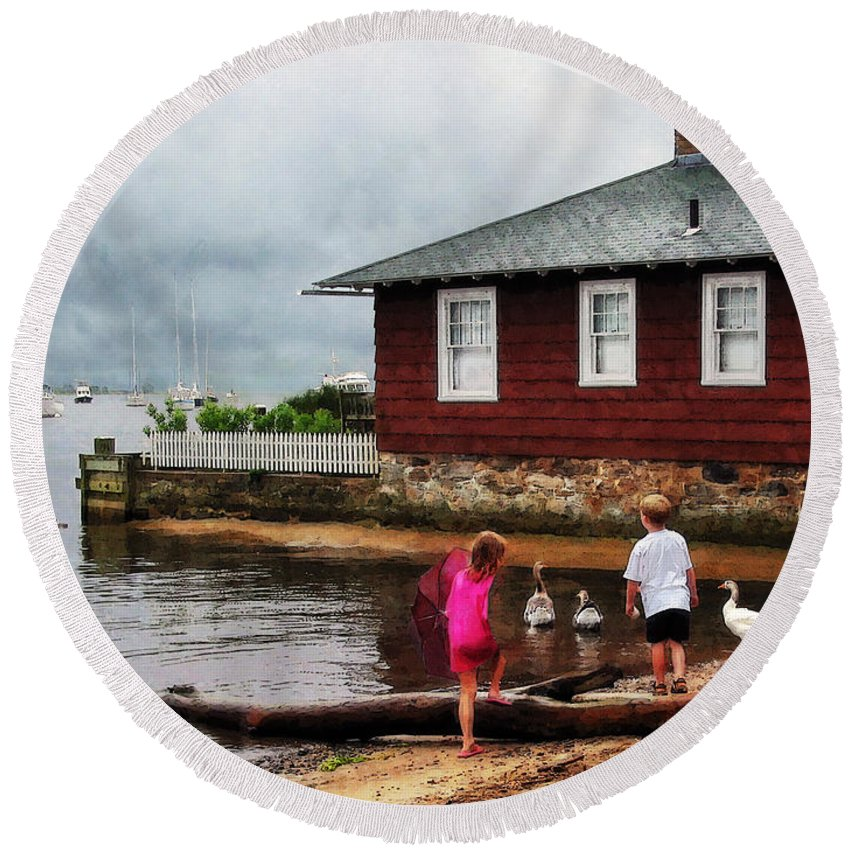 Boat Round Beach Towel featuring the photograph Children Playing At Harbor Essex Ct by Susan Savad