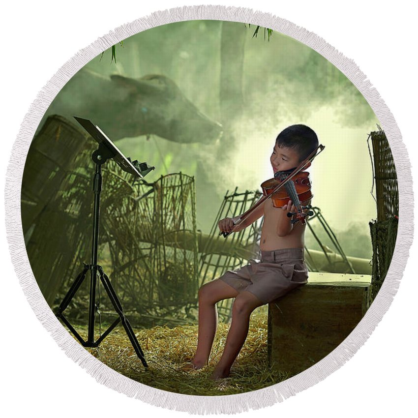 Violin Round Beach Towel featuring the photograph Children Playing Violin In The Folk Style. by Somchai Sanvongchaiya
