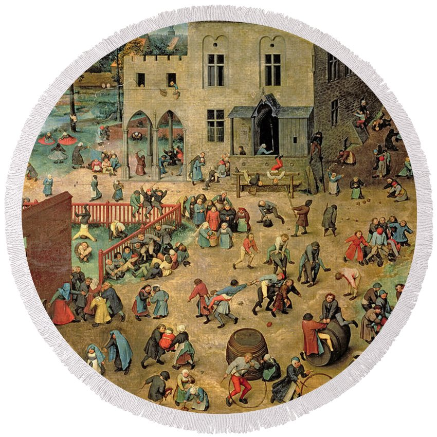 Children Round Beach Towel featuring the painting Children's Games by Pieter the Elder Bruegel