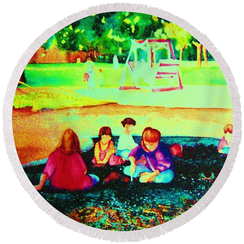 Central Park Round Beach Towel featuring the painting Childs Play by Carole Spandau