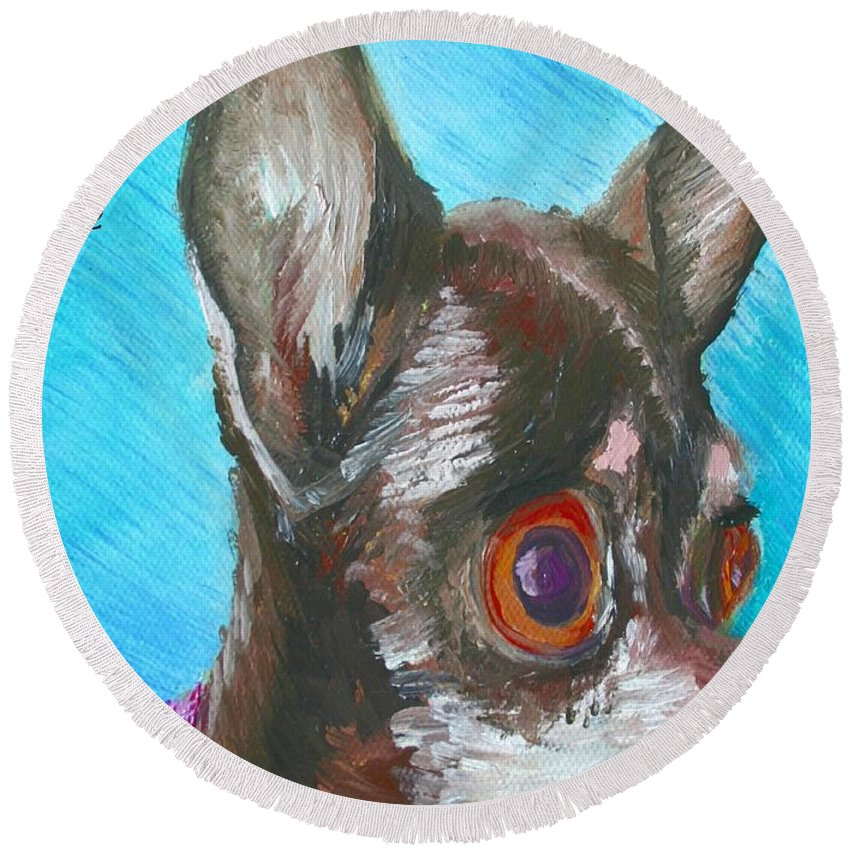 Dog Round Beach Towel featuring the painting Chili Chihuahua by Minaz Jantz
