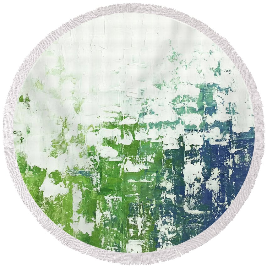 Contemporary Round Beach Towel featuring the painting Chill by Linda Bailey