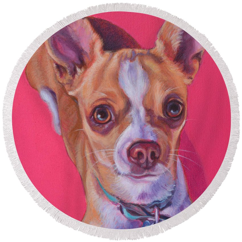 Chihuahua Round Beach Towel featuring the painting Chilli by Deborah Cullen