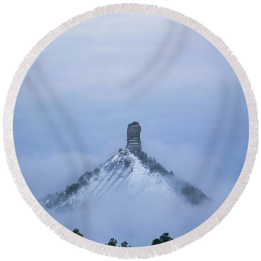 Landscape Round Beach Towel featuring the photograph Chimney Rock Rising by Jason Coward