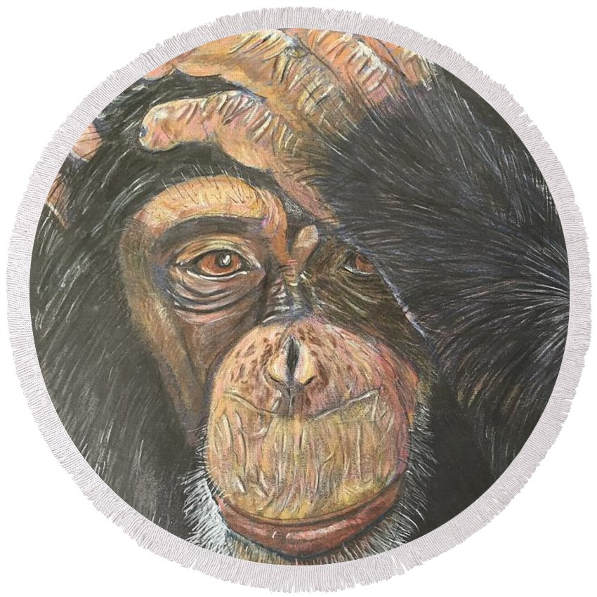 Monkey Round Beach Towel featuring the painting Chimp by Heike Althaus