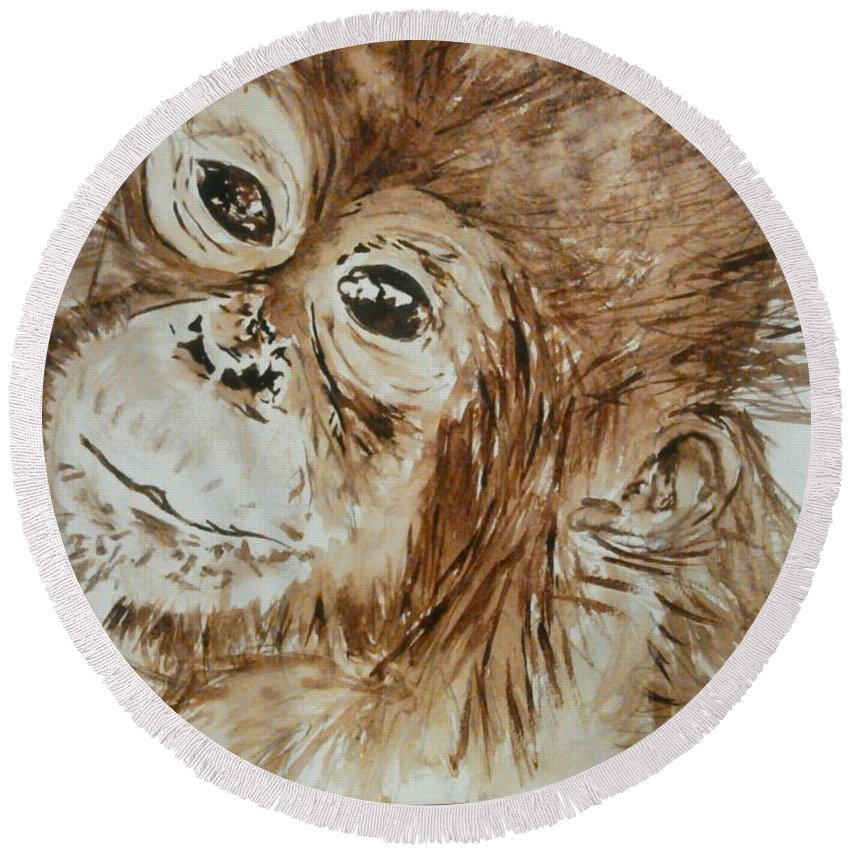 Monkey Round Beach Towel featuring the painting Chimp by Nathanael Manzer